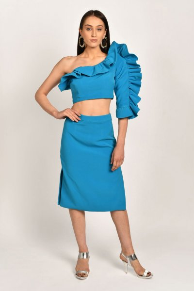 BLUE RUFFLE TOP AND SKIRT  CO-ORD
