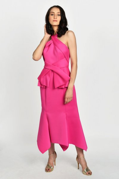FLAMINGO PINK MIDI DRESS