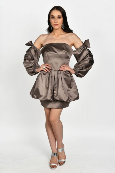MINK BALLOON PEPLUM DRESS