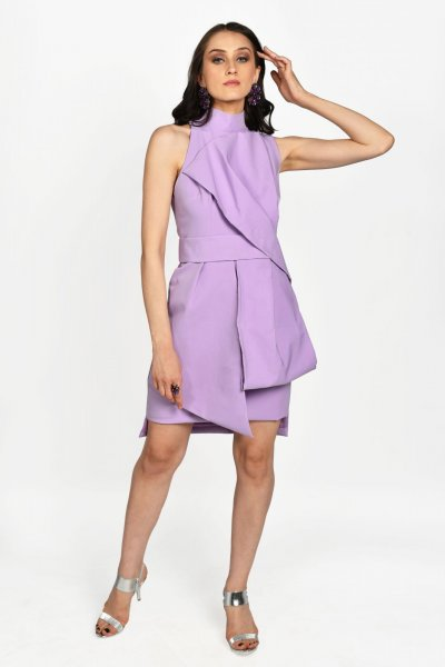 LAVENDER STRUCTURED DRAPED DRESS