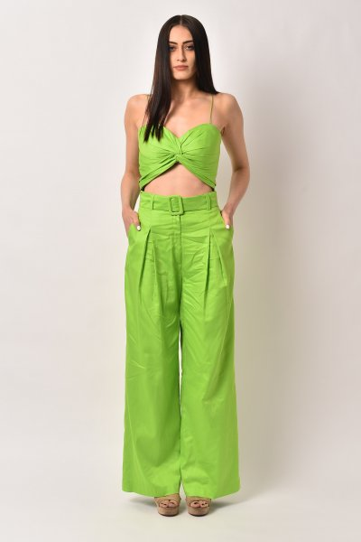 NEON GREEN BELTED COTTON CO-ORD