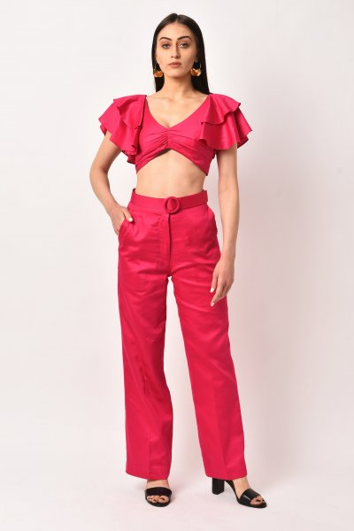 HOT PINK FLUTTER SLEEVE CO-ORD