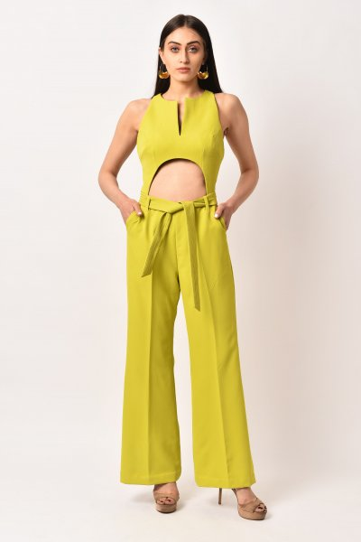 LIME GREEN TIE -UP JUMPSUIT