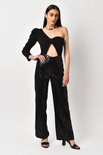 ONE SHOULDER BLACK JUMPSUIT