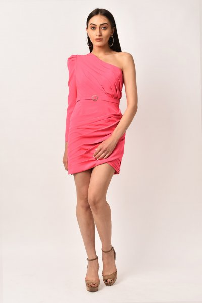 VIBRANT PINK ONE SHOULDER DRESS