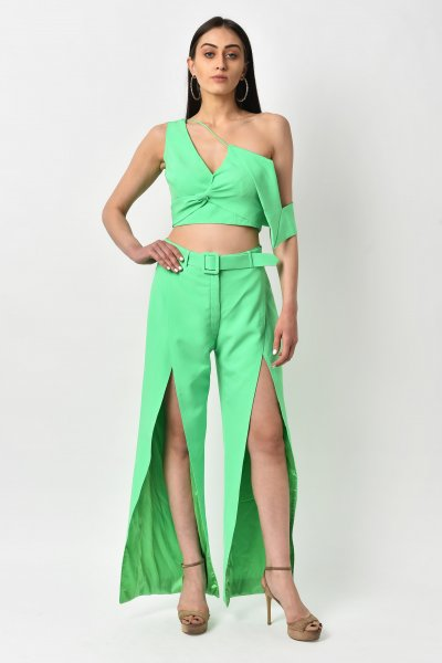 NEON GREEN FALLING SLEEVE CO-ORD