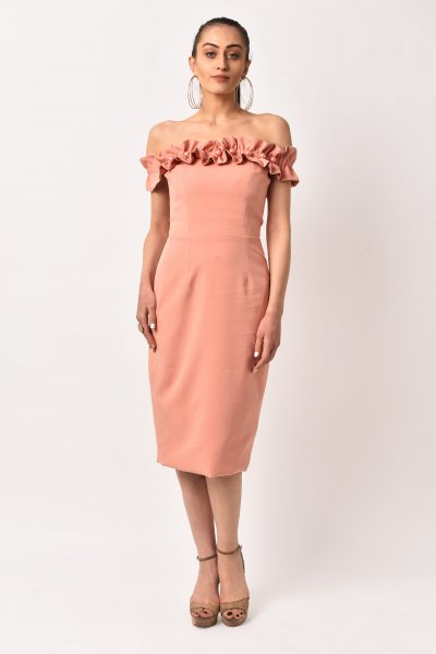 RUST PINK RUFFLE MIDI DRESS