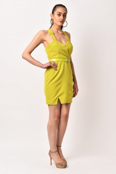 LIME GREEN BELTED DRESS