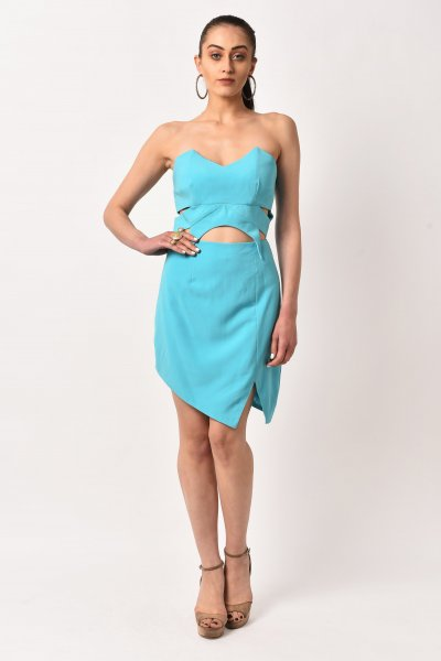 SKY BLUE CUT-OUT MINI DRESS