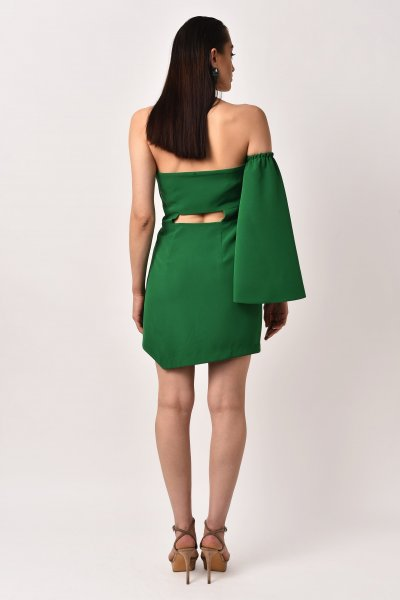 GREEN ONE SLEEVE BOW DRESS