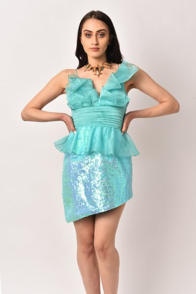 TURQUISE SEQUINS PROM DRESS