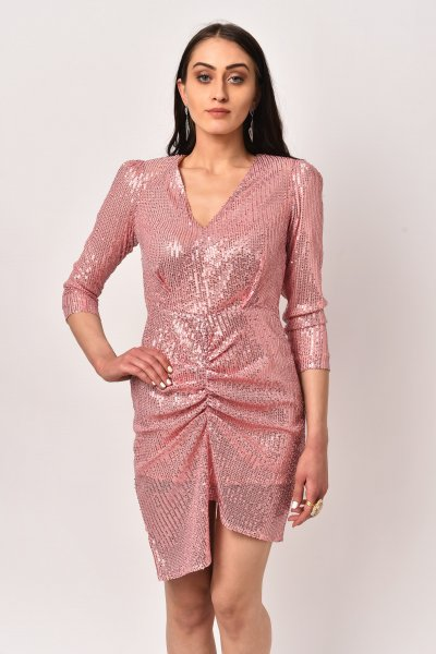 PRETTY PINK LONG SLEEVED SEQUINS DRESS