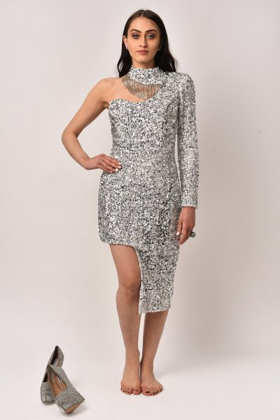 SILVER HIGH - LOW DRESS