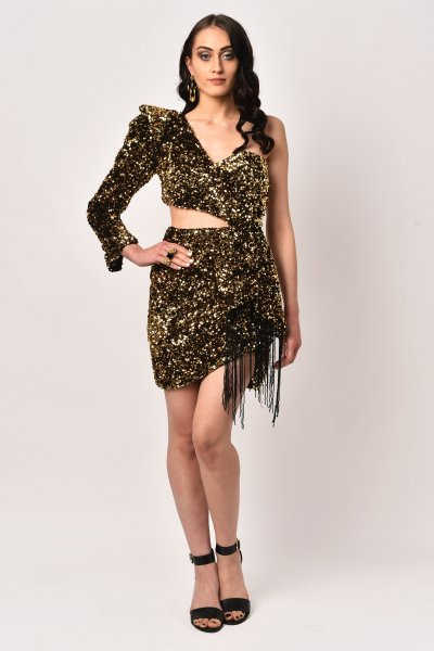 BLACK & GOLD SEQUINS WRAP MINI DRESS