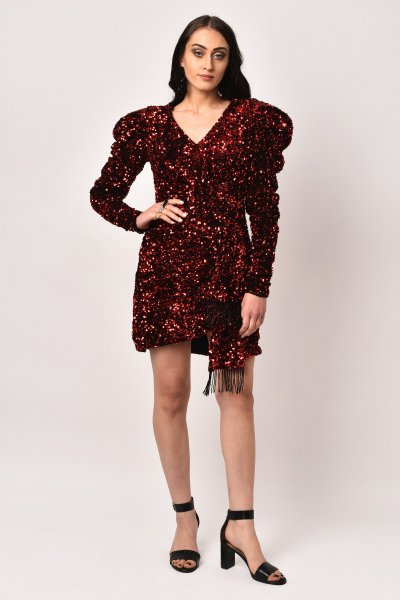 RED DRAPED SEQUIN DRESS