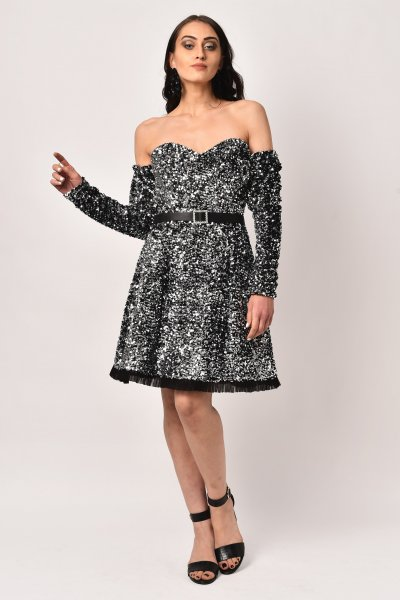SILVER OFF SHOULDER SEQUINS DRESS