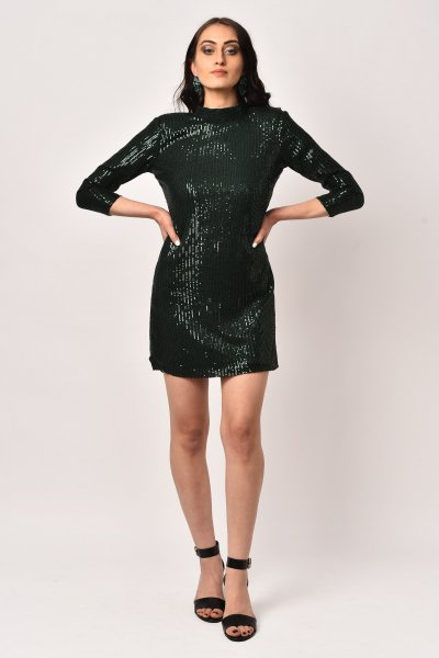 EMERALD GREEN SEQUINS DRESS