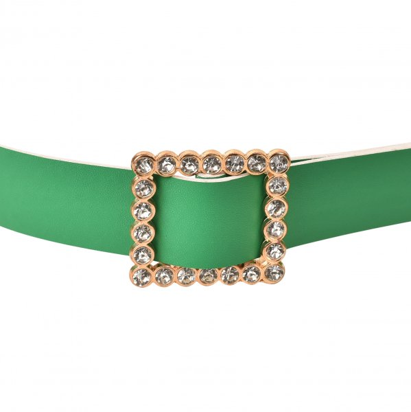 EMERALD GREEN STUDDED BELT