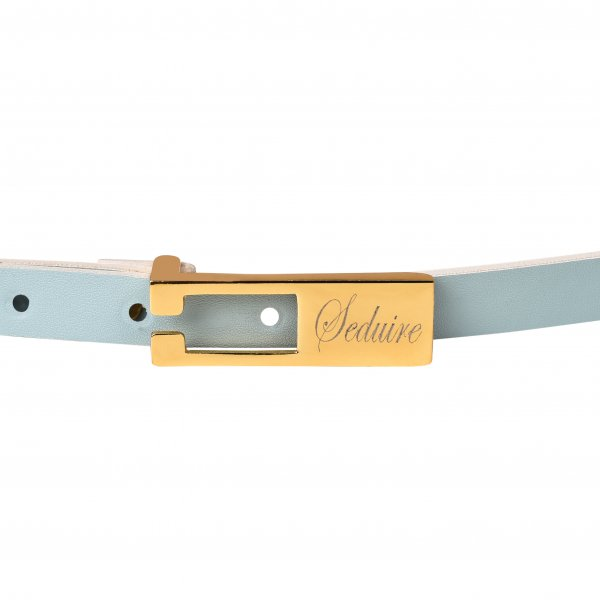 POWDER BLUE SLIM LEATHER BELT