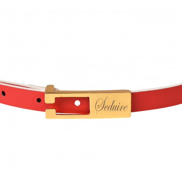 RED LEATHER SLIM BELT