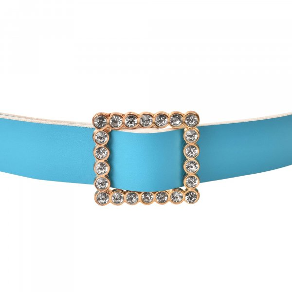 SKY BLUE STUDDED BELT