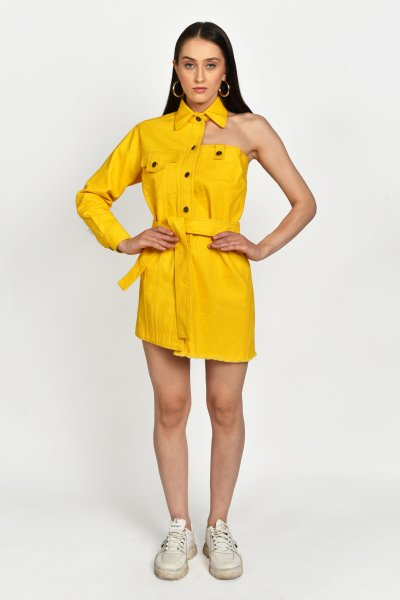 YELLOW DENIM MINI DRESS