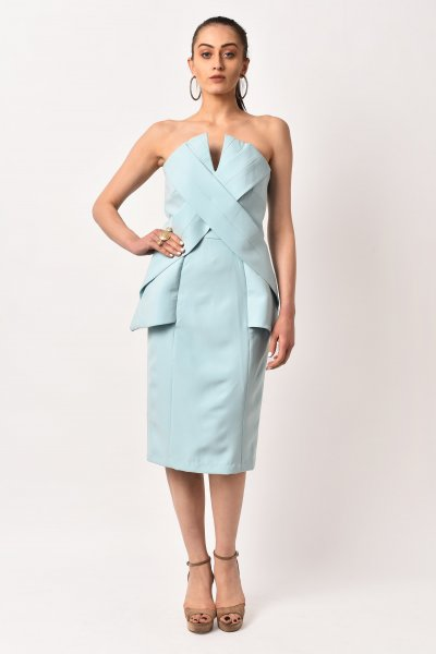 ICE BLUE VINTAGE MIDI DRESS