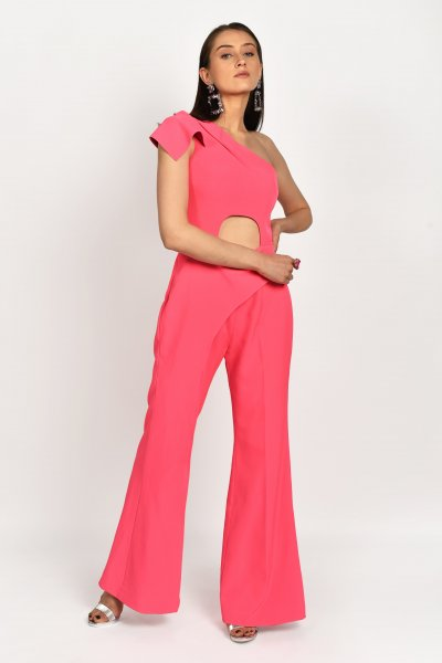 ONE SHOULDER ROUGE PINK  JUMPSUIT