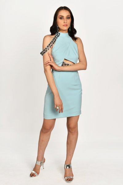 PASTEL BLUE EMBELLISHED DRESS