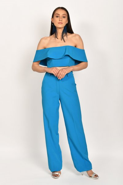 SAFFIRE BLUE OFF SHOULDER TOP AND PANT CO-ORD