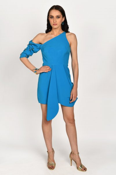 SAPPHIRE BLUE DROP SLEEVES MINI DRESS