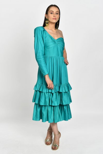 SEA GREEN TIERED MIDI DRESS