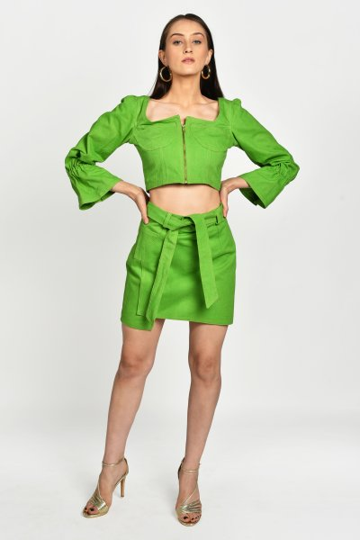 NEON GREEN DENIM CO-ORD