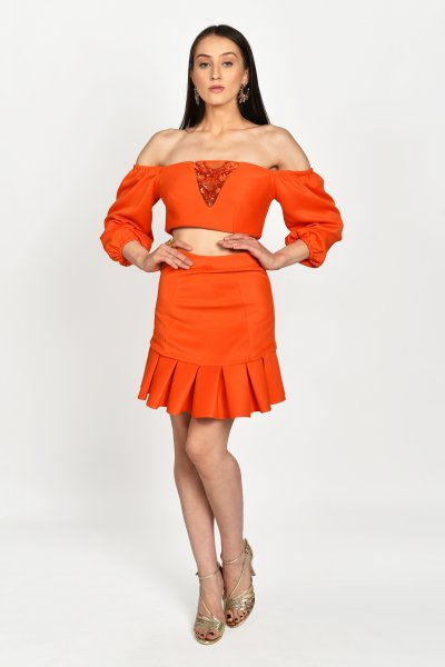 TANGERINE EMBELLISHED CROP TOP & PLEATED SKIRT